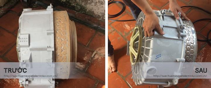 Hình ảnh TRƯỚC và SAU khi bảo dưỡng máy giặt Electrolux