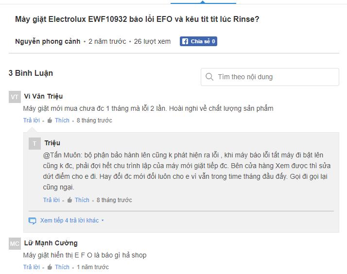 Hỏi lỗi EF0 máy giặt Electrolux là lỗi gì?