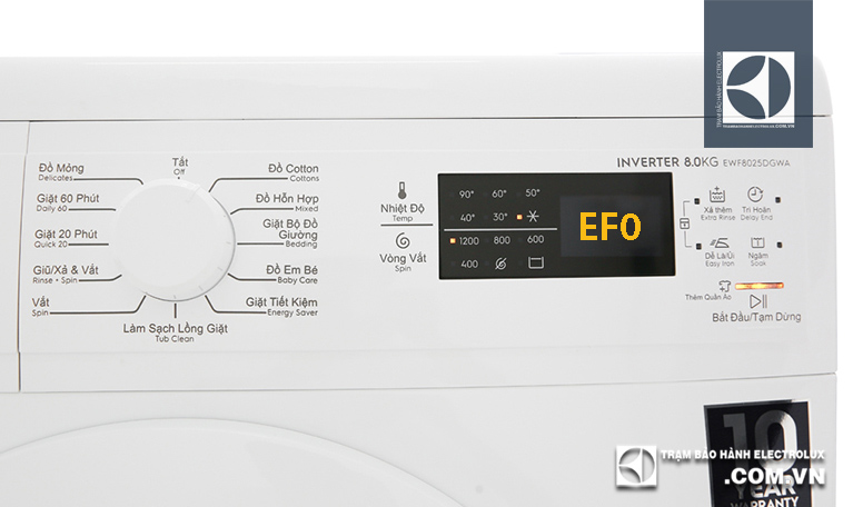 Nhận biết lỗi EF0 máy giặt Electrolux