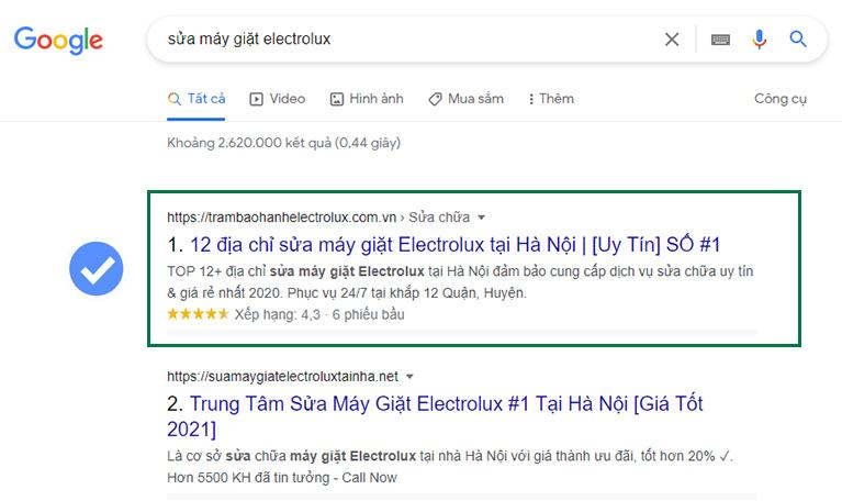 TrambaohanhElectrolux.com.vn trên Google Search